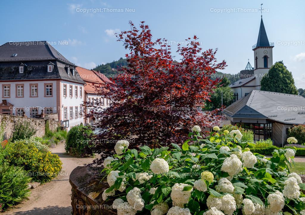 DSC_9922 | bli,Lindenfels in Sommerlaune, Blick vom blühenden Kurgarten auf die Burg und die katholische Kirche, ,, Bild: Thomas Neu
