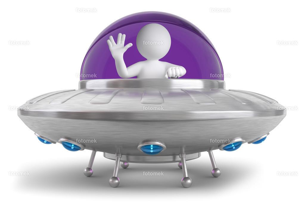 3d Männchen sitzt im Ufo | 3d Männchen sitzt im Ufo