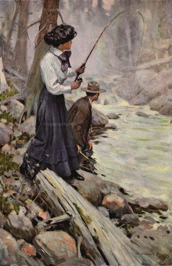 Dunton_ William H. (1878-1946) - The Greater Power 1909 - Lady fishing