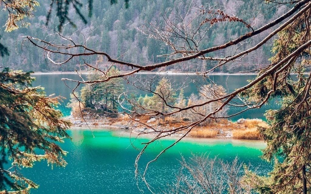 Eibsee | Blick auf eine Insel im Eibsee mit smaragdgrünem Wasser