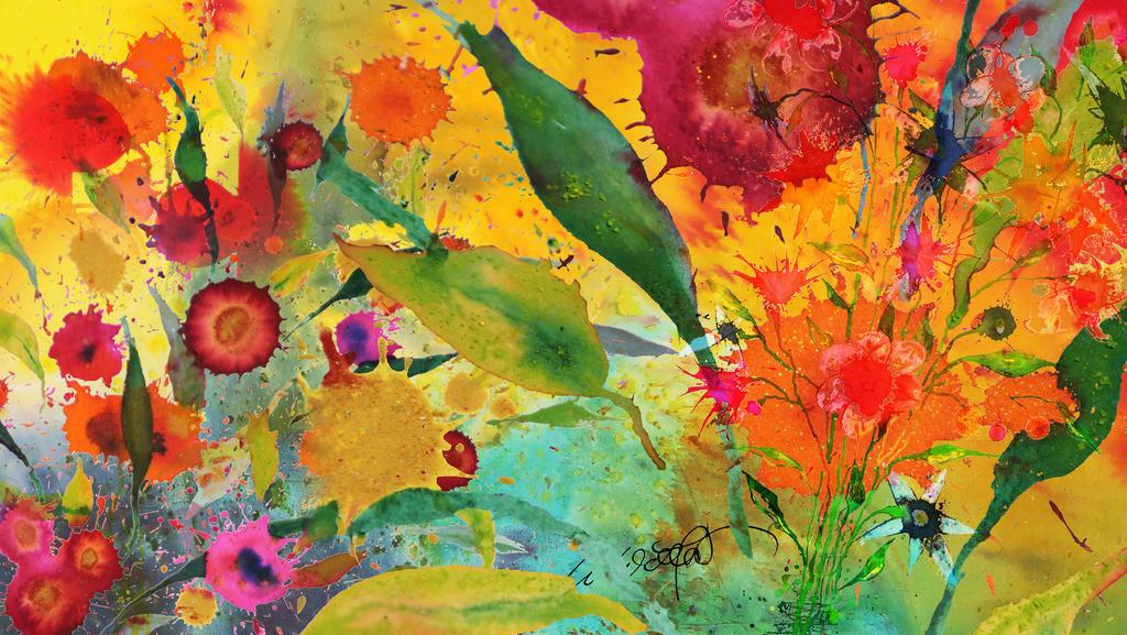 Sommerblumen_4 | Gerade schneit es aber ich wurde gebeten etwas richtig sommerliches für ein Wohnzimmer zu entwerfen ... So geselle ich meine Blumen zu den wirklich schönen, bringe Farben, Fotos und Fantasie in Schwung und bin wieder eine kleine Weile dabei, bei der großen Kunst der Natur.  so grüßt der Sommer den Winter und ich Euch.