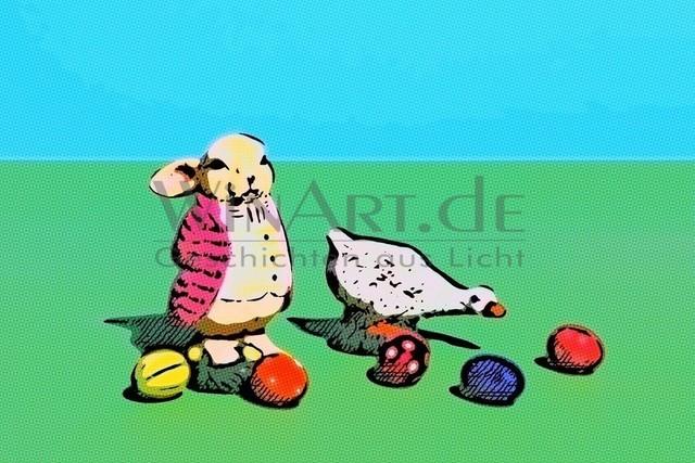 Ostern im Comic | Osterhase und Gans mit Eiern auf der Wiese. Comicstil gerastert