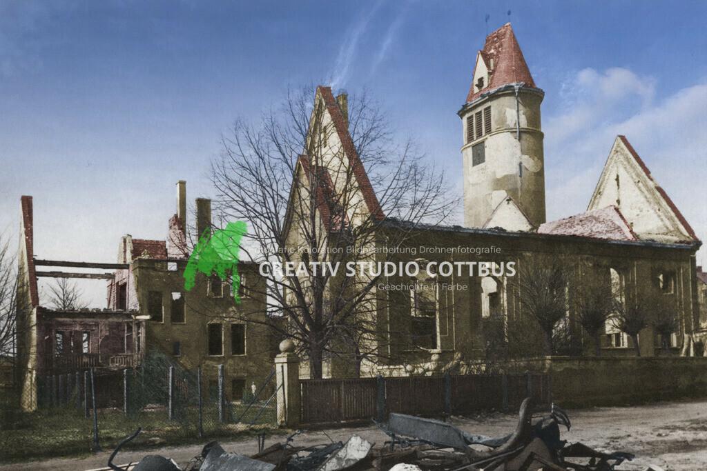 Zerstörte Lutherkirche Cottbus nach Bombenangriff 15.02.1945