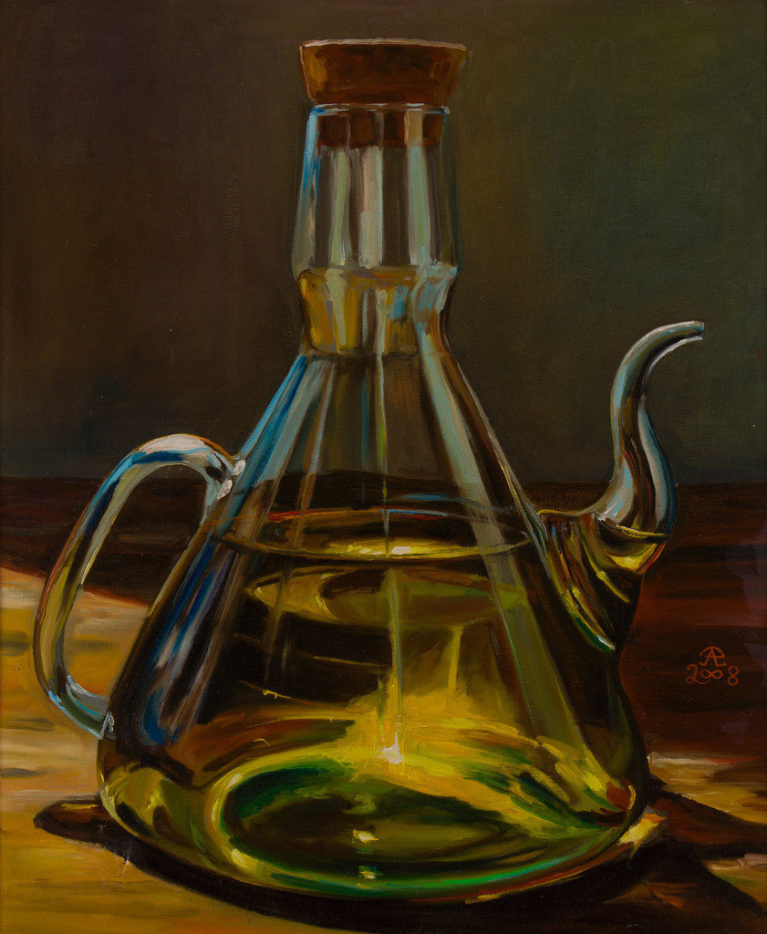 Glaskännchen mit Sonnenblumenöl   Originalformat: 60x50cm  -  Produktionsjahr: 2008