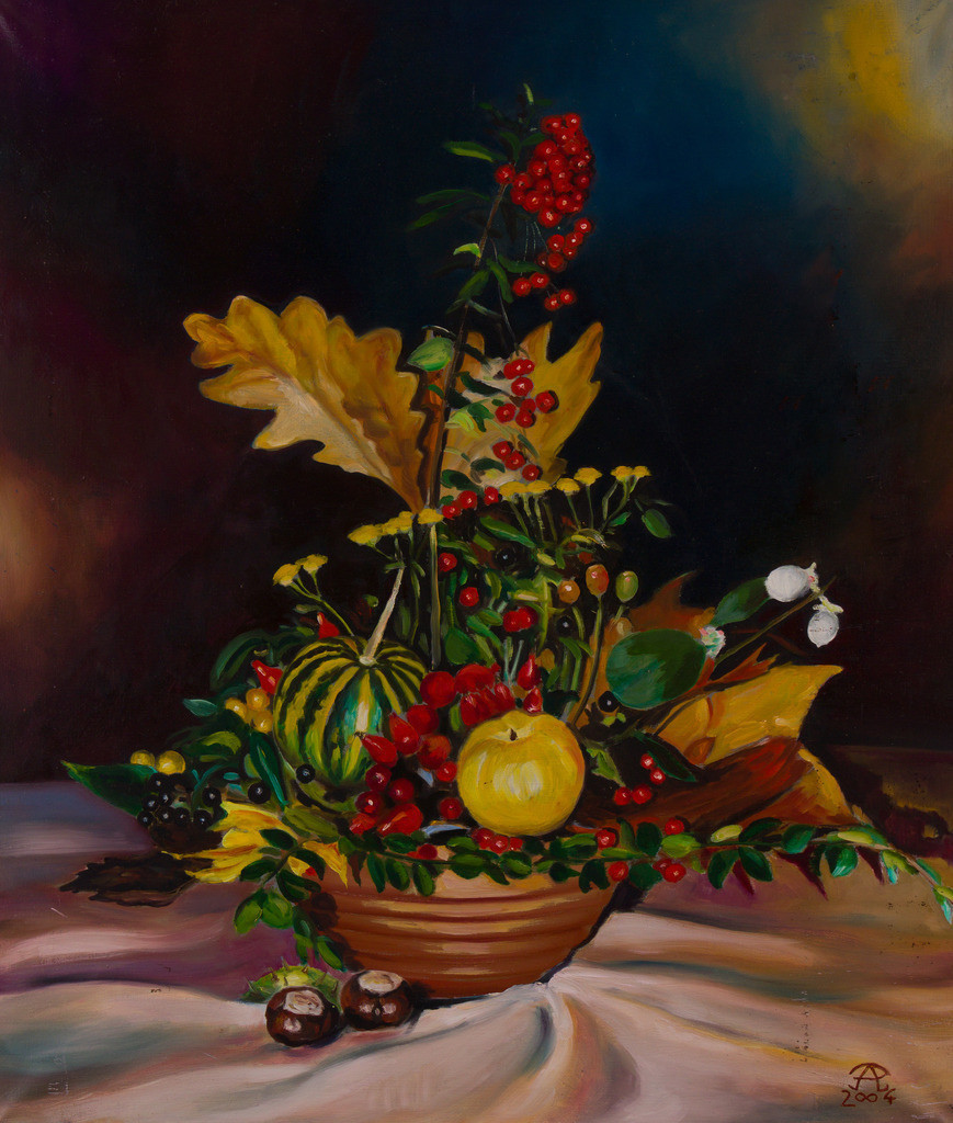 Das Herbstgesteck | Originalformat: 70x60cm  -  Produktionsjahr: 2004