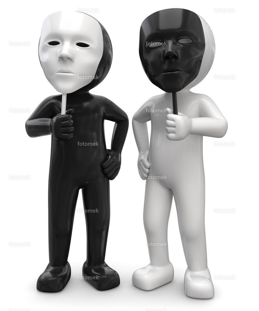 3d Männchen schwarz und weiss mit Masken | weisse 3D Männchen von Fotomek