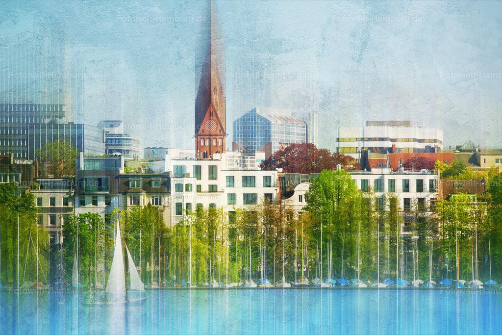 10190520 - Hamburg St. Georg | Blick über die Alster auf den Stadtteil St. Georg.
