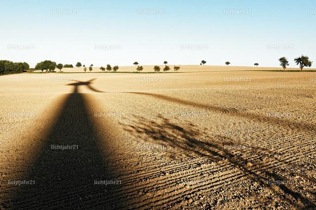 Schatten eines Windrades in hügeligen Landschaft | Langer Schatten eines Windrades auf einem abgeernteten Acker in einer hügeligen Landschaft, einzelne Bäume im Hintergrund, Spätsommerstimmung - Location: Deutschland, Sachsen