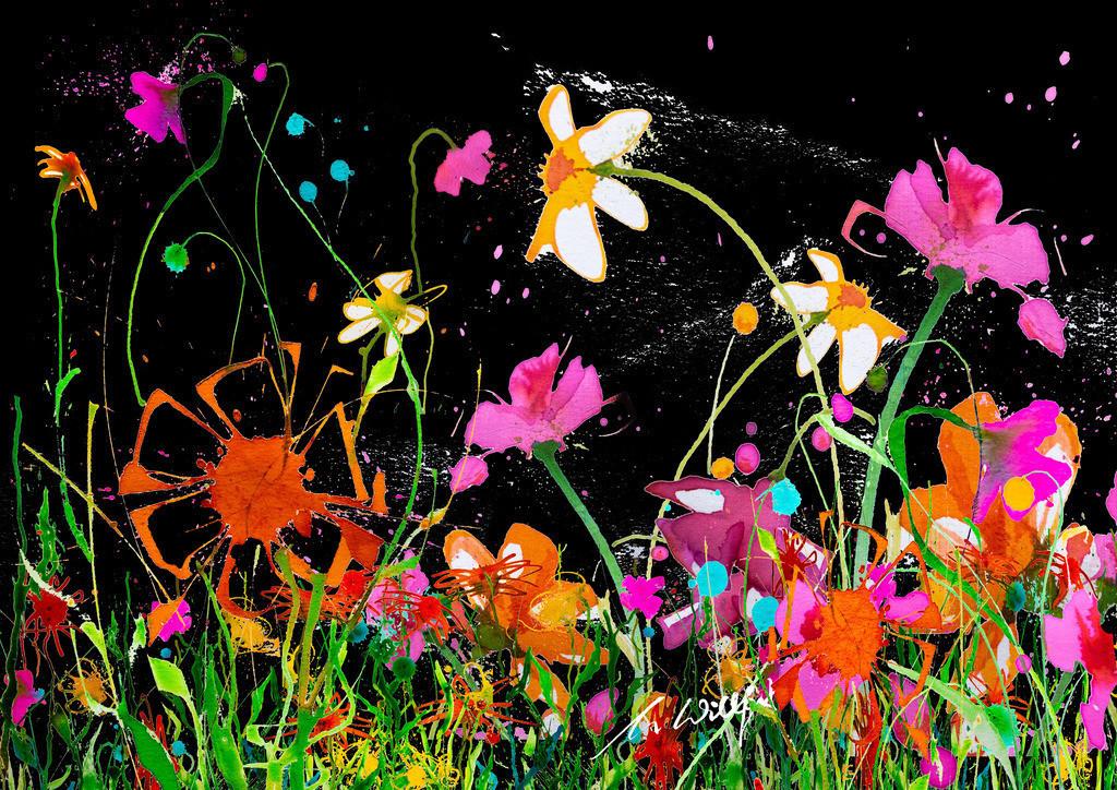 Klosterblumen_quer | Weil sie mich begeistern, die freien Blumen im Sommer. Motive der 360°  Lichtkunstausstellung im Klosterhof Blaubeuren