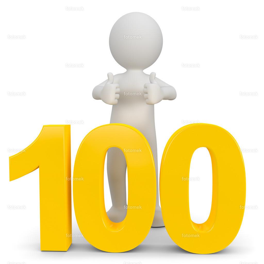 weisses 3d Männchen mit der Zahl 100   3d Männchen lernt in der Schule bis 100 zählen