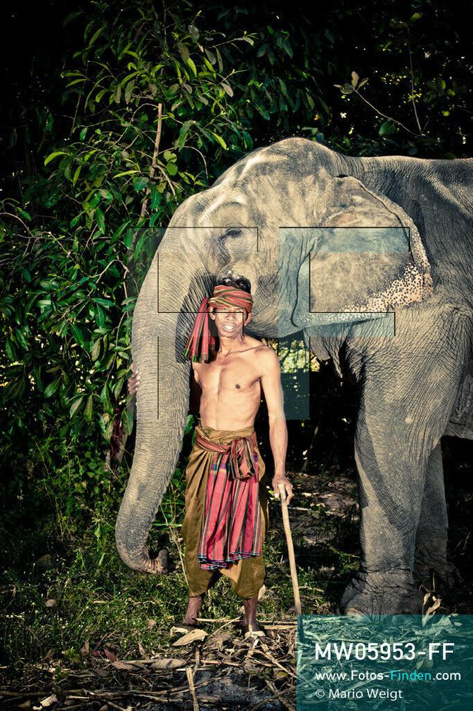 MW05953-FF | Thailand | Goldenes Dreieck | Reportage: Mahut und Elefant - Ein Bündnis fürs Leben | Mahut Sutee und sein Elefant Kampeng im Dorf Ban Ta Klang nahe Surin. Sutee gehört zur ethnischen Gruppe der Kui.  ** Feindaten bitte anfragen bei Mario Weigt Photography, info@asia-stories.com **