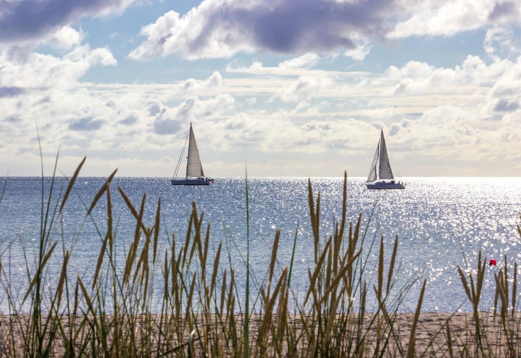 Sommer am Meer   Segelboote vor Damp