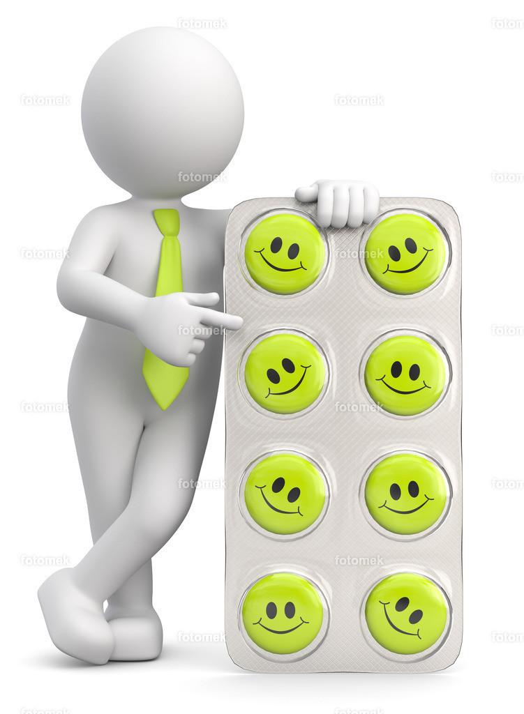 3d Männchen mit Glücklichmacher Tabletten | 3d Männchen mit Aufputschmittel Tabletten in Smiley Form