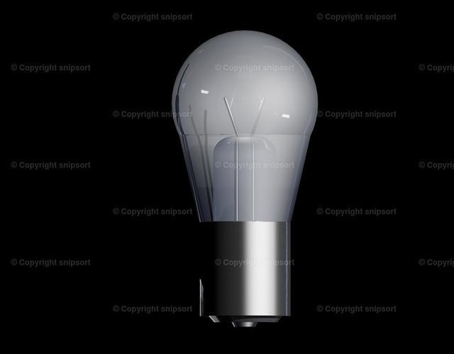 Glühlampe (3D-Rendering) | Eine Glühlampe über schwarzem Hintergrund als 3D Illustration