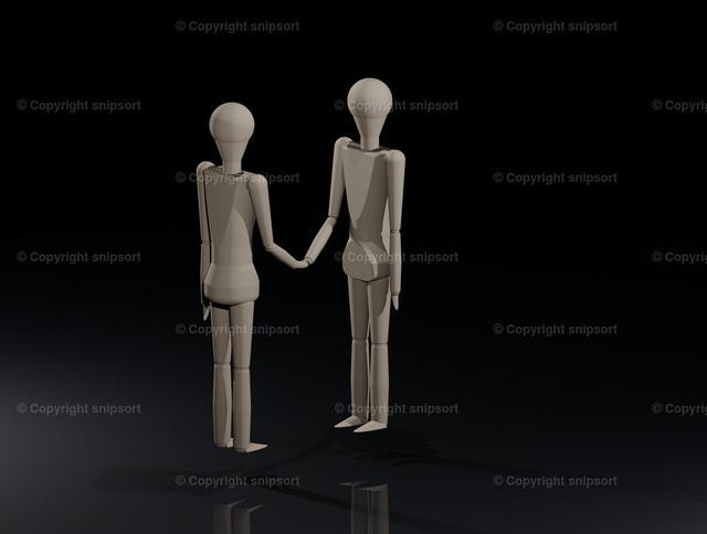 Händedruck | Zwei Holzpuppen reichen sich die Hand (3D-Rendering).