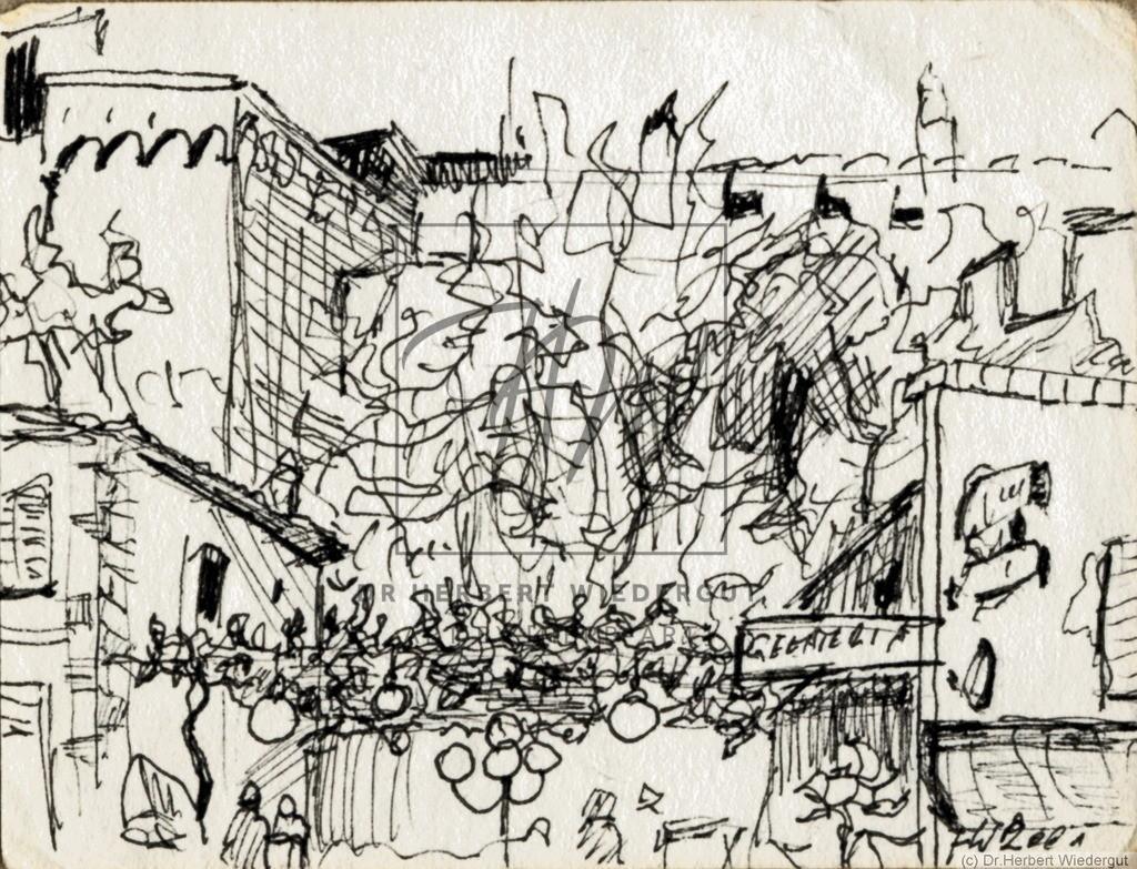 Im Zentrum von Castiglione della Pescaia   Reiseskizze mit Tusche auf Zeichenblock von Dr. Herbert Wiedergut