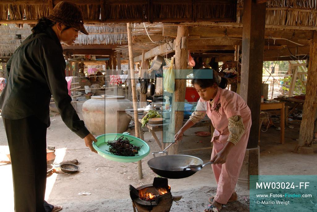 MW03024-FF | Kambodscha | Provinz Kampong Cham | Skoun | Reportage: Phektra verkauft Vogelspinnen | Phektra bei der Zubereitung der Vogelspinnen. Die 12-jährige Phektra lebt im Dorf Skoun, das für seine schwarzen frittierten Vogelspinnen bekannt ist. Phektra fängt und sammelt die Spinnen im Wald und verkauft die frittierten Achtbeiner an der Bushaltestelle.   ** Feindaten bitte anfragen bei Mario Weigt Photography, info@asia-stories.com **
