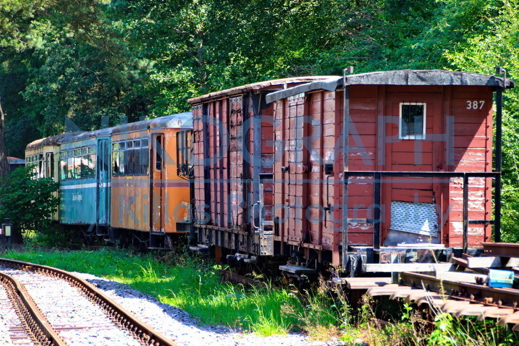 Eisenbahnwaggons   Güterwaggons der Sauerländer Kleinbahn sowie Personenwaggons diverser Inselbahnen.
