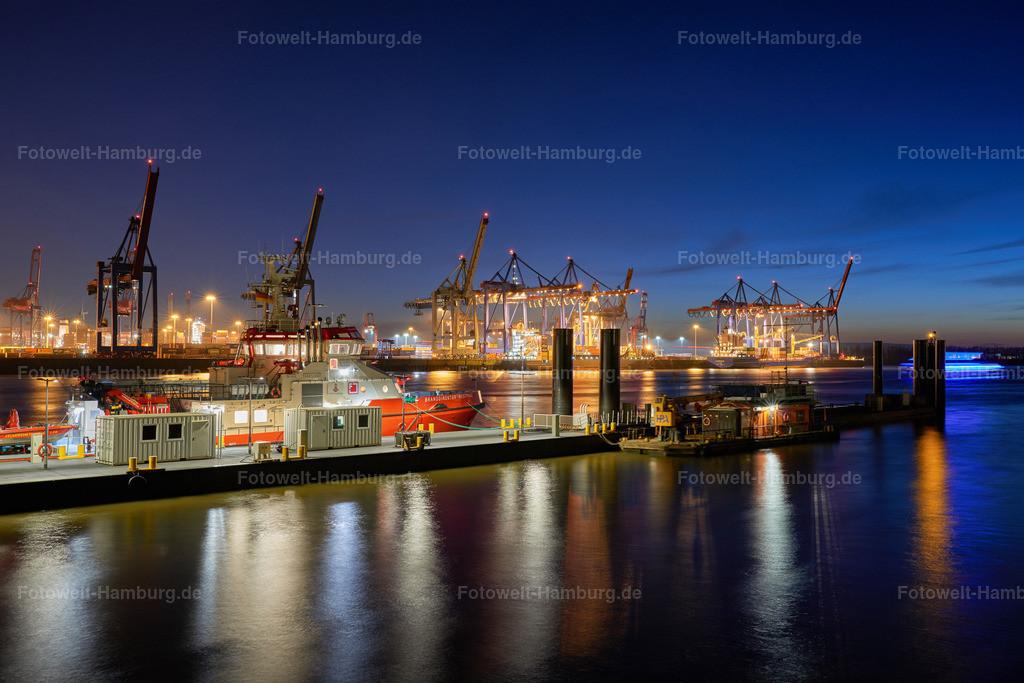 10190701 - Schlepperbrücke bei Nacht | Blick auf die Schlepperbrücke und das Containerterminal Burchardkai bei Nacht.