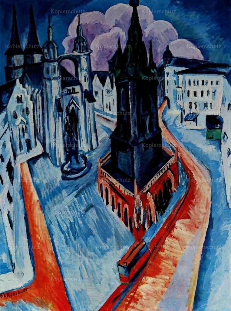 Kirchner_ Ernst Ludwig (1880-1938) - Red Tower in Halle 1915