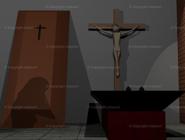 Beweinen des Toten (3D-Rendering) | Abschied vom Toten bei einer Beerdigung (3D Illustration)