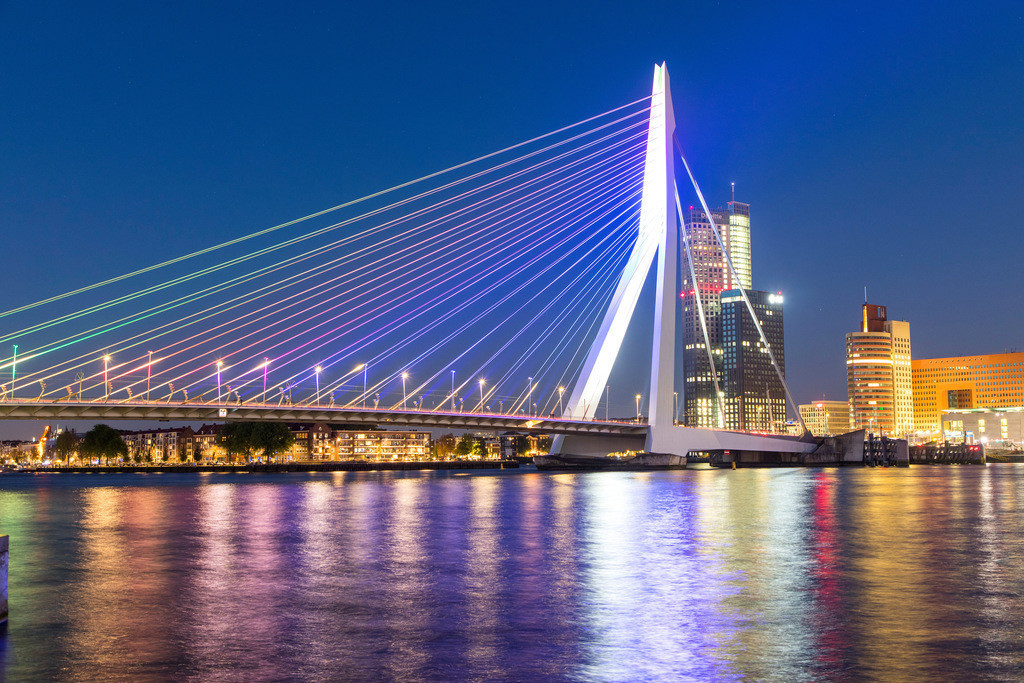 JT-180512-033 | Rotterdam, Skyline an der Nieuwe Maas, Erasmus Brücke