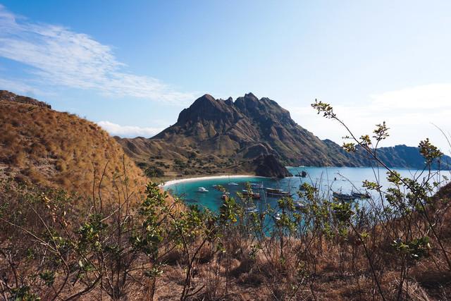 Sea _ Mountains | Wunderbare, exotische Hügellandschaft an der schmalen Küste von Padar Island, einer kleinen Insel Indonesiens