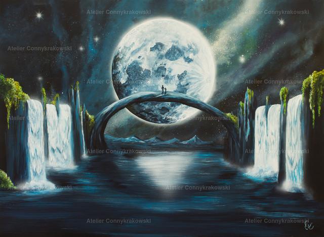 Mond C | Phantastischer Realismus aus dem Atelier Conny Krakowski. Verkäuflich als Poster, Leinwanddruck und vieles mehr.