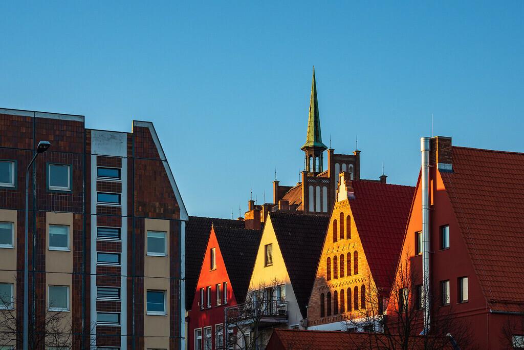 Historische Gebäude in der Hansestadt Rostock am Morgen | Historische Gebäude in der Hansestadt Rostock am Morgen.