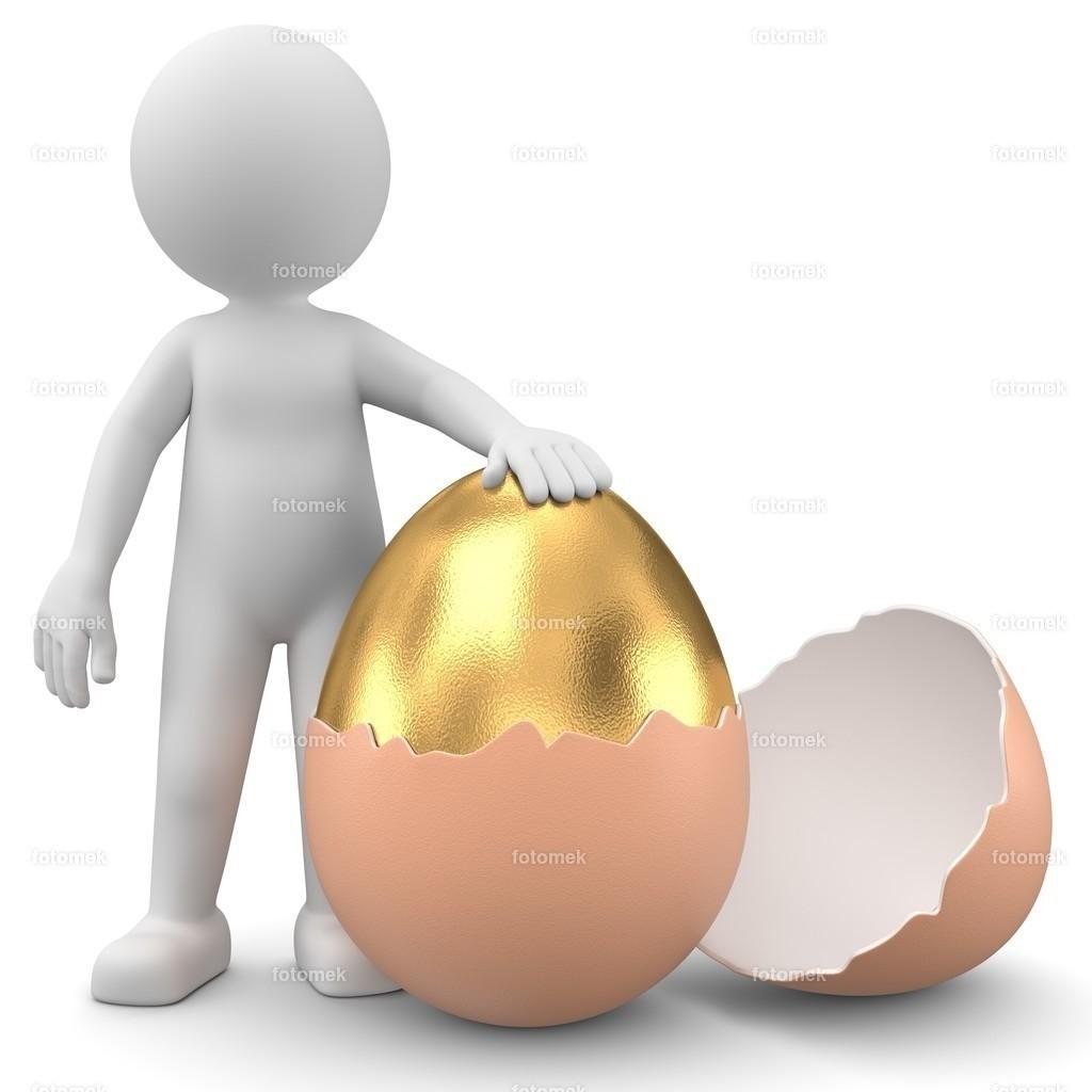 3d Männchen mit goldenem Ei