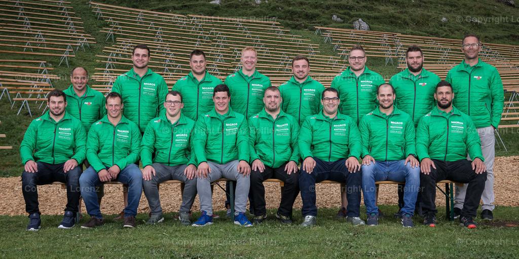 Schwingen -  NOSV Zusammenzug 2019 | Schwägalp, 7.8.19, Schwingen - NOSV Zusammenzug. Team Appenzell mit Technischen Leiter (Lorenz Reifler)