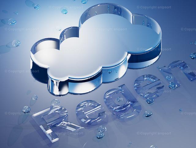 Regenwetter | Konzept von Wettervorhersage mit Regen (3D-Rendering).