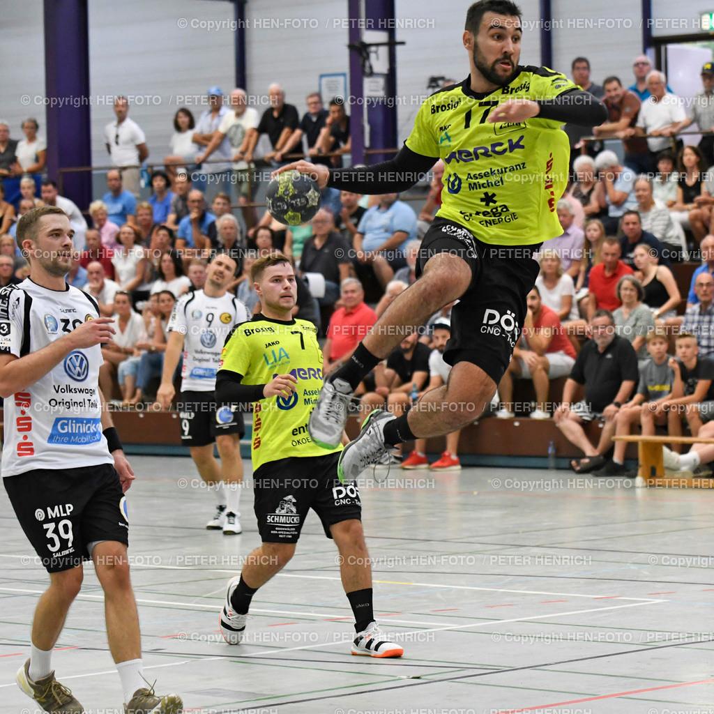 Handball Gross Bieberau Modau - Baunatal 20190824 copyright by HEN-FOTO | Handball 3. Liga Bieberau Modau - Baunatal 20190824 li 39 Marvin Gabriel (B) Mi 7 Robin Büttner (BM) re 17 David Rivic (BM) copyright by HEN-FOTO Foto: Peter Henrich