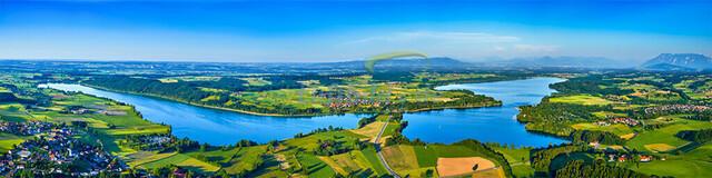 luftbild-panorama-tachinger-waginger-see-bruno-kapeller  | Luftaufnahme als Uebersicht vom Tachinger und Waginger See, waermster See Oberbayerns, Sommer 2014.