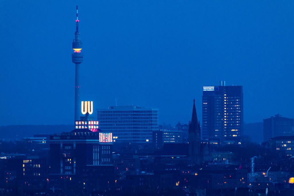 JT-180313-056 | Stadtpanorama von Dortmund, Innenstadt, Fernsehturm Florian, Dortmunder-U, Faultürme der Emscher Kläranlage Dortmund Deusen,