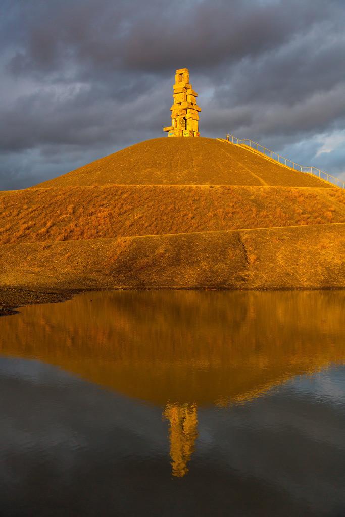 JT-150301-015 | Halde Rheinelbe in Gelsenkirchen, 100 Meter hohe Bergehalde, Landschaftspark, mit der Skulptur Himmelsleiter, aus Betonteilen der ehemaligen Zeche Rheinelbe