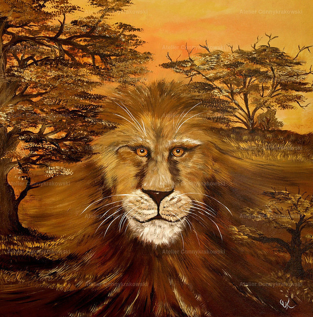 Löwe im Boden_bearbeitet-1 | Phantastischer Realismus aus dem Atelier Conny Krakowski. Verkäuflich als Poster, Leinwanddruck und vieles mehr.