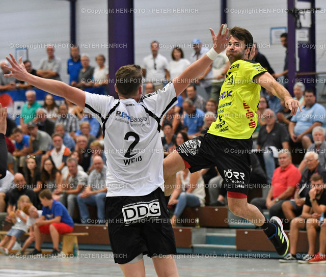 Handball Gross Bieberau Modau - Baunatal 20190824 copyright by HEN-FOTO   Handball 3. Liga Gross Bieberau Modau - Baunatal 20190824 li 2 Florian Weiss (B) re 18 Janko Kevic (BM) copyright by HEN-FOTO Foto: Peter Henrich