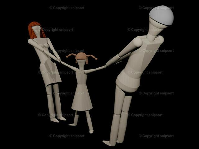 Jedes Elternteil will für sich das Sorgerecht haben (3D-Rendering) | Eltern können sich das gemeinsame Kind bei einer Trenung nicht teilen (3D-Rendering mit Holzpupen)