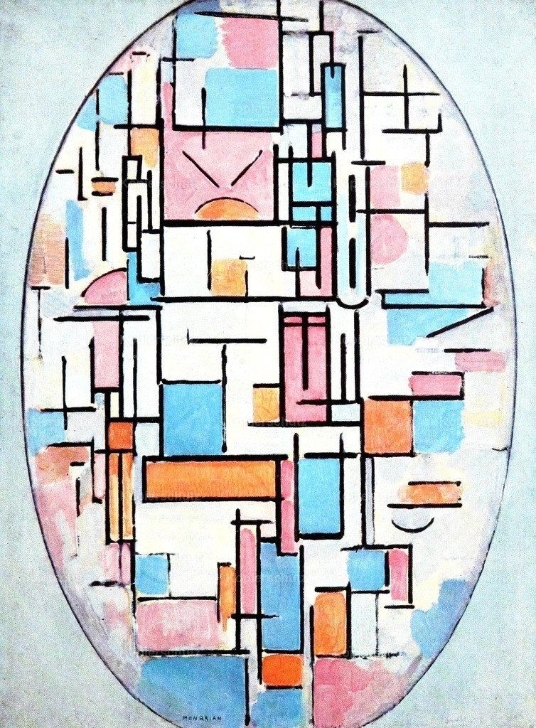 Mondrian_ Piet (1872-1944) - Oval composition with bright colours 1913