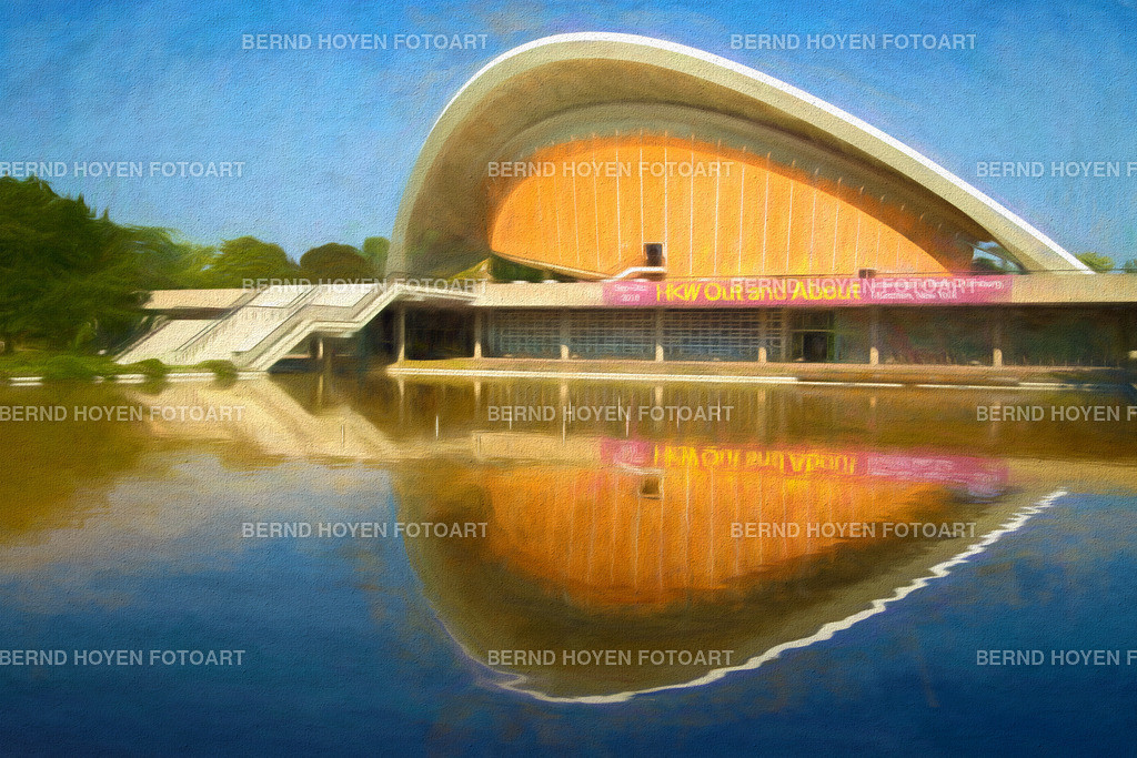 out and about | Foto des Haus der Kulturen der Welt in Berlin, Deutschland / Digitale Bildbearbeitung / malerischer Effekt. | Photo of the House of the World's Cultures in Berlin, Germany / Digital image editing / picturesque effect.