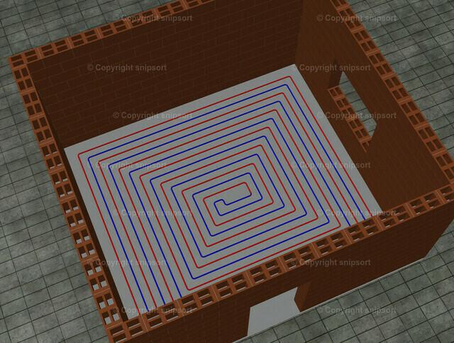 Fussbodenheizung | Verlegte Schleifen einer Fuẞbodenheizung in einem Haus (3D-Rendering)