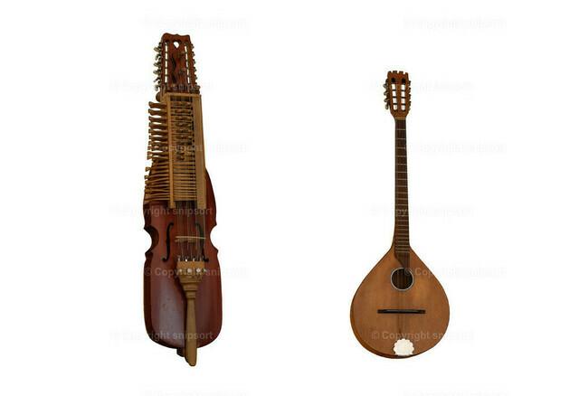 Zwei mittelalterliche Musikinstrumente (freigestellt) | Mittelalterliche Musikinstrumente Nyckelharpa und Irish bouzouki über dem weißen Hintergrund