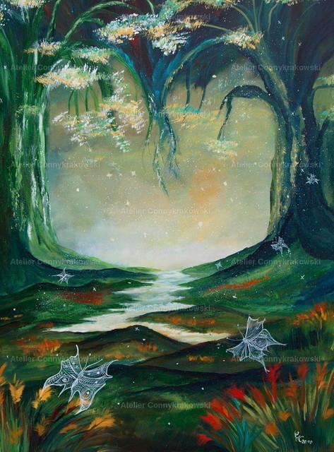 Der magische Wald-1 | Phantastischer Realismus aus dem Atelier Conny Krakowski. Verkäuflich als Poster, Leinwanddruck und vieles mehr.