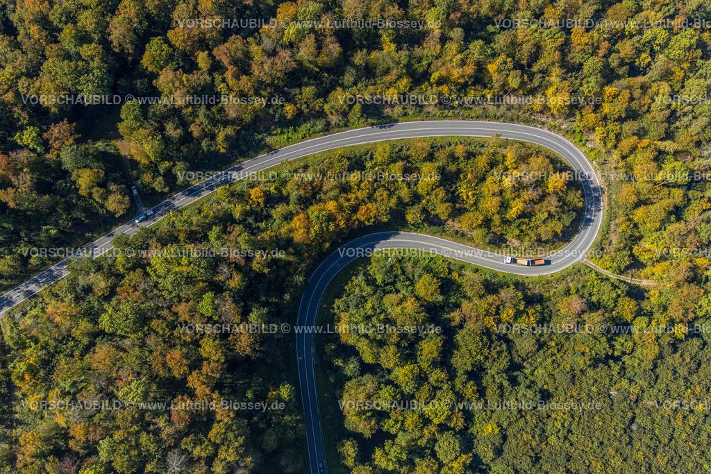 Beverungen200911491Jakobsberg_L838 | Luftbild, Serpentinenstraße im Waldgebiet, nördlich von Jakobsberg, Beverungen, Ostwestfalen-Lippe, Nordrhein-Westfalen, Deutschland