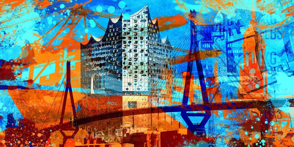 10200717 - Hamburg Collage 037 | Moderne abstrakte Hamburg Fotocollage mit vielen Details, wie z.B. der Elbphilharmonie und der Köhlbrandbrücke.