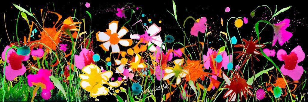 Kloster_Blumen-breit | Weil sie mich begeistern, die freien Blumen im Sommer. Motive der 360°  Lichtkunstausstellung im Klosterhof Blaubeuren