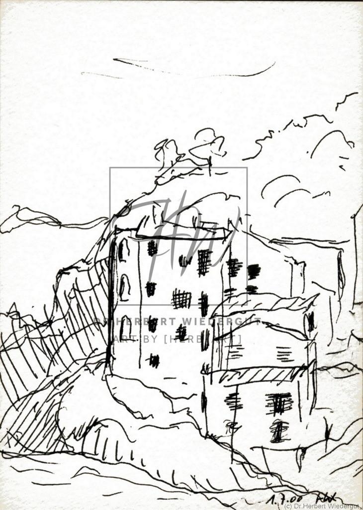 In Marciana Marina auf Elba | Reiseskizze mit Tusche auf Zeichenblock von Dr. Herbert Wiedergut