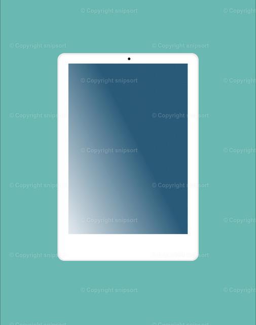 iPad_snipsort | Ein weißes Tablet über einem türkisen Hintergrund.