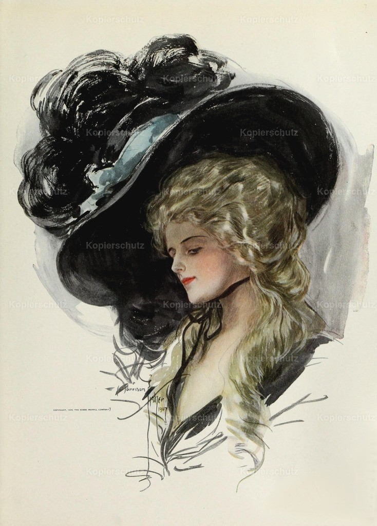 Fisher_ Harrison (1875-1934) - American Beauties 1909 - Large hat